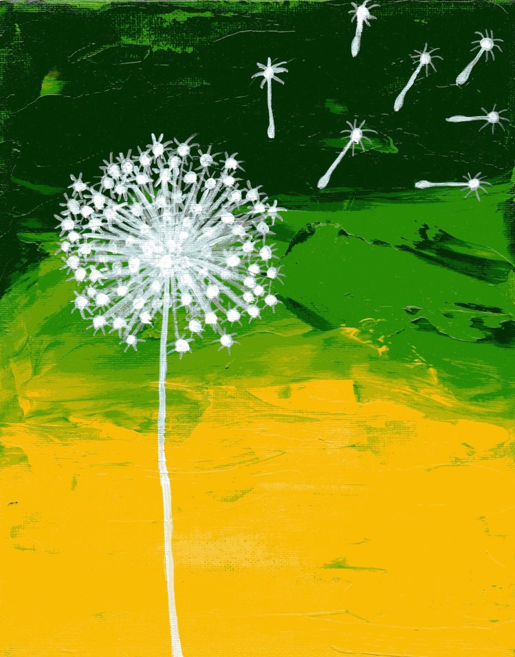 abstract painting of dandelion silouhette on green and yellow canvas