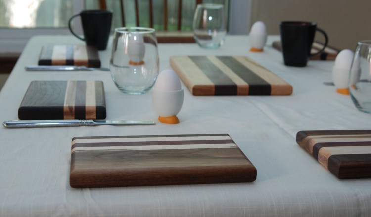 breakfast boards and wood serving board, walnut, maple, padauk