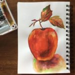 watercolor apple with depth