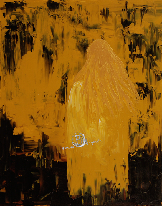 abstract figurative painting of a person in gold by Bender Originals