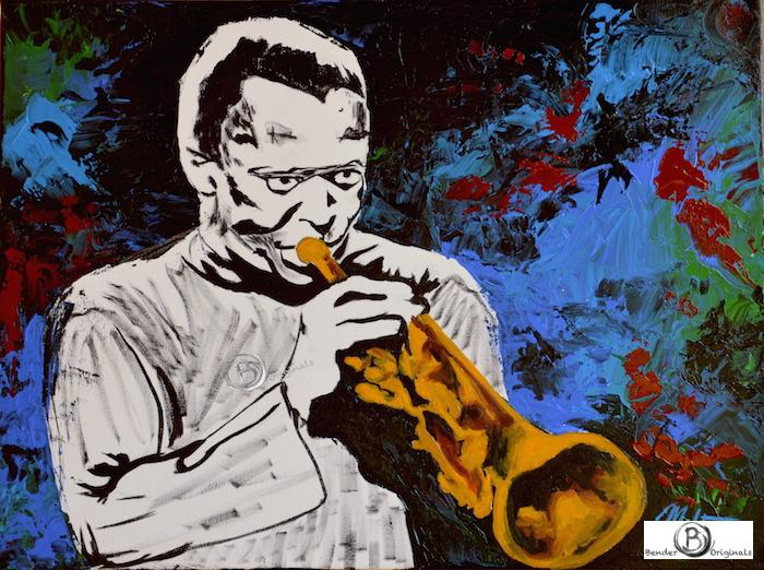 Abstract painting of Miles Davis playing trumpet