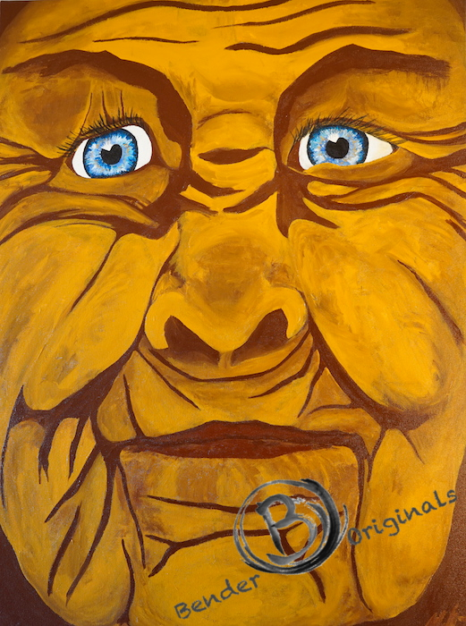 acrylic painting of an old woman face close up with bright blue eyes by Bender Originals