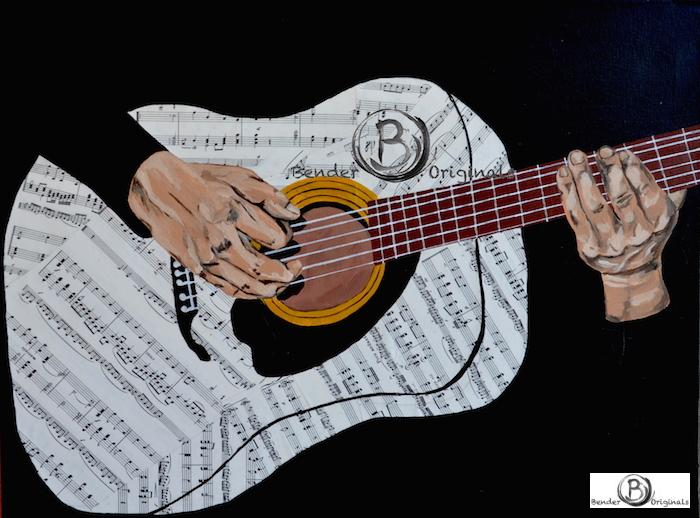 Mixed Media Painting of hands playing six string guitar