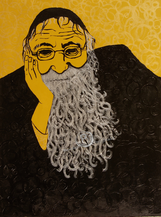 abstract painting of an old man or Rabbi in black and gold by Bender Originals