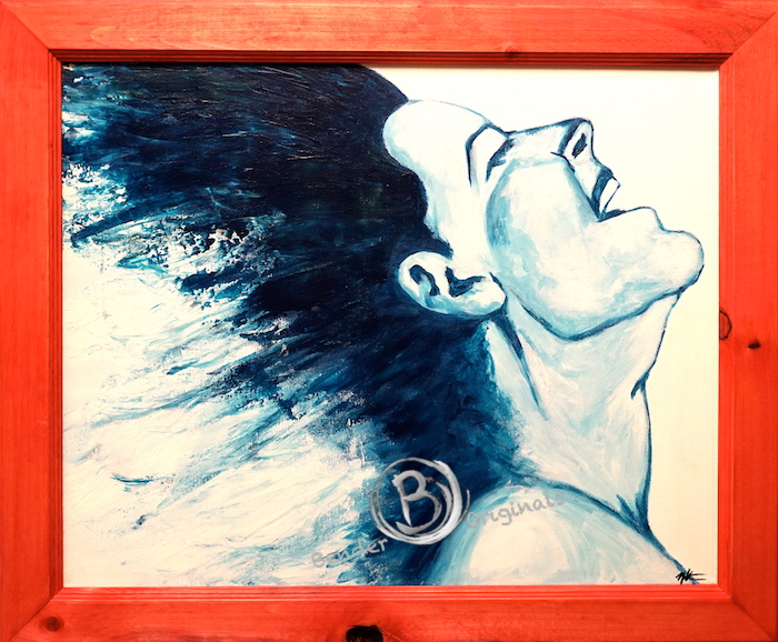 Abstract painting of a woman in blue happy by Bender Originals