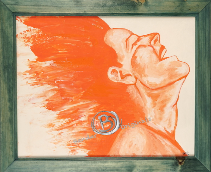Abstract painting of woman in orange by Bender Originals