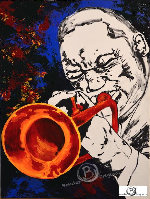 Painting of a man playing trumpet