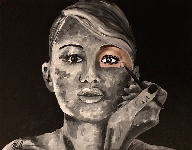 Painting of woman applying makeup