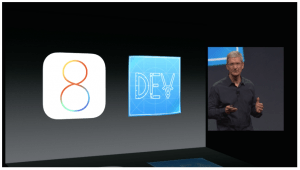 iOS-8-Tim-Cook-WWDC-2014. Quelle: Apple
