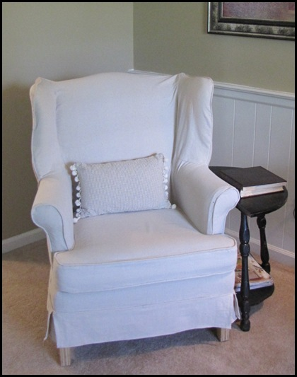 how to make slipcover for wingback chair satin covers sale a drop cloth beneath my heart