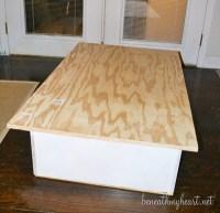 Bookcase turned Yard Stick Coffee Table {DIY Wayfair