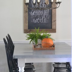 Zinc Kitchen Table Painted Round Diy Top Beneath My Heart Aged