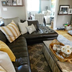 Living Room With Brown Leather Couch Ideas Cheap Furniture Sale How To Style A Dark Sofa Den Makeover Beneath My Heart