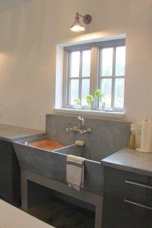 Laundry Room Farmhouse Sink with Cabinet