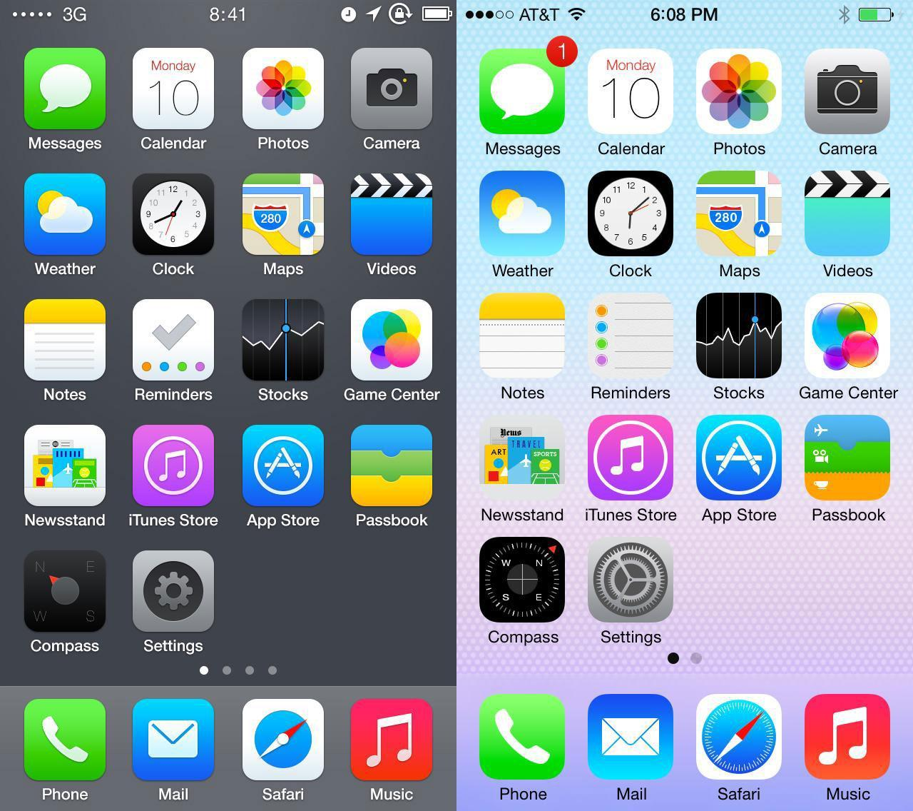 The preivous iOS compared to the new iOS update.