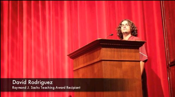 David Rodriguez, above, delivers an acceptance speech.