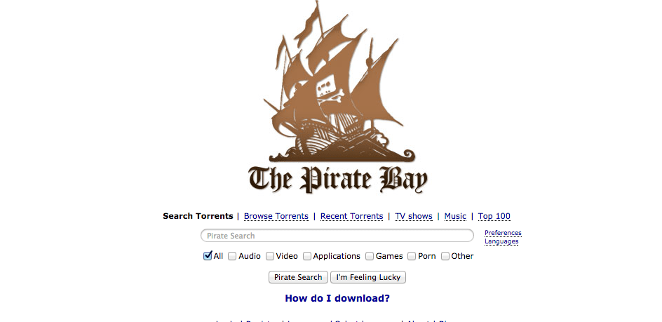 Pictured is the website of The Pirate Bay, one of the most abundant sources of getting music and other digital media illegally