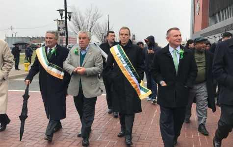 Headmaster Fr. Edwin Leahy O.S.B. Leads the St. Patrick's Day Parade