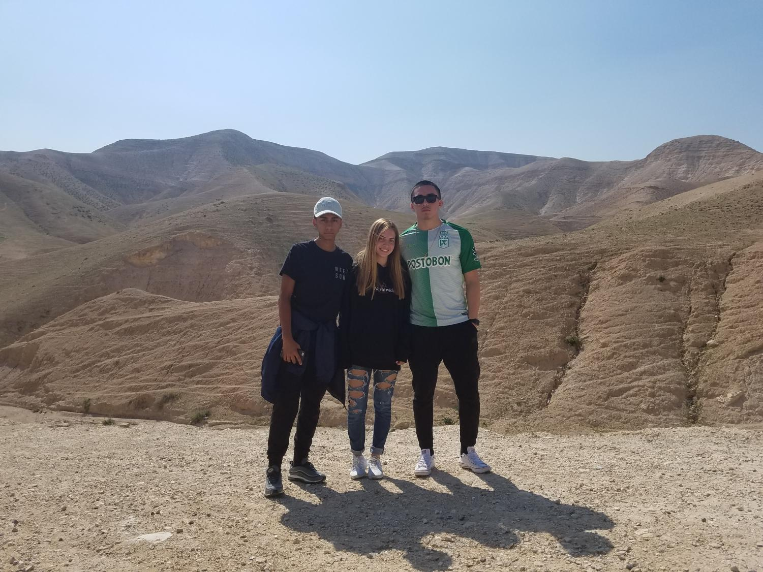 Daron, Danielle, and Juan in the desert.