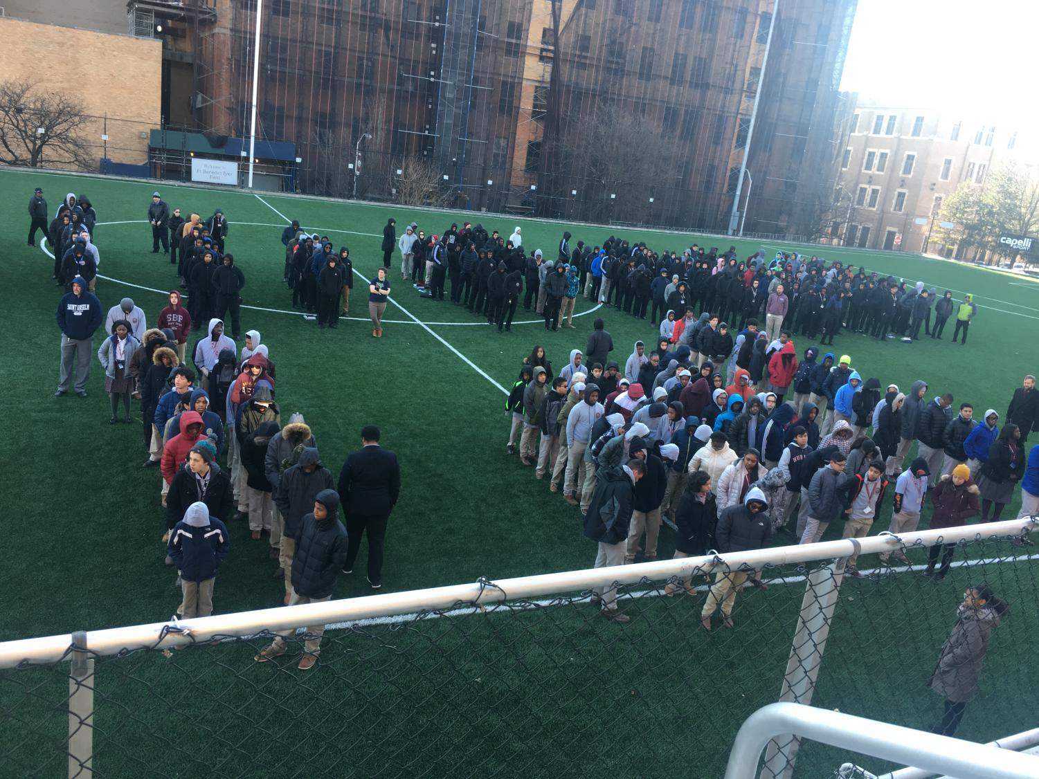 SBP students lined up on upper-field in minutes of silence