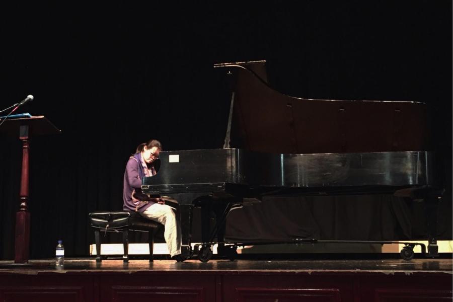 Tereza Lee plays the piano in Conlin Auditorium.
