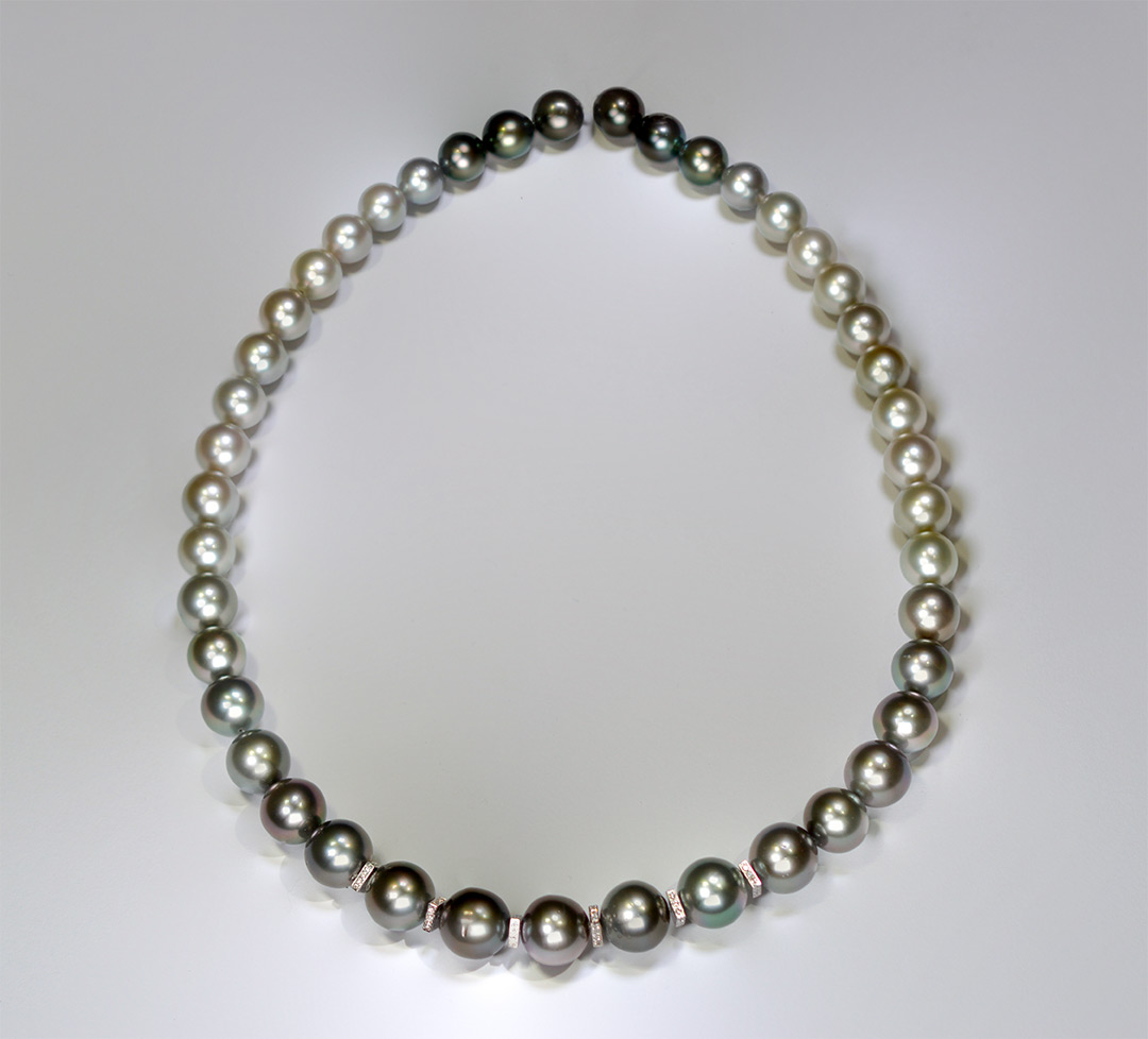 Collier de Perles de Tahiti, Or Gris et Diamants