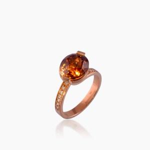 Bague Feux Zircon Naturel, Or Rouge et Diamants