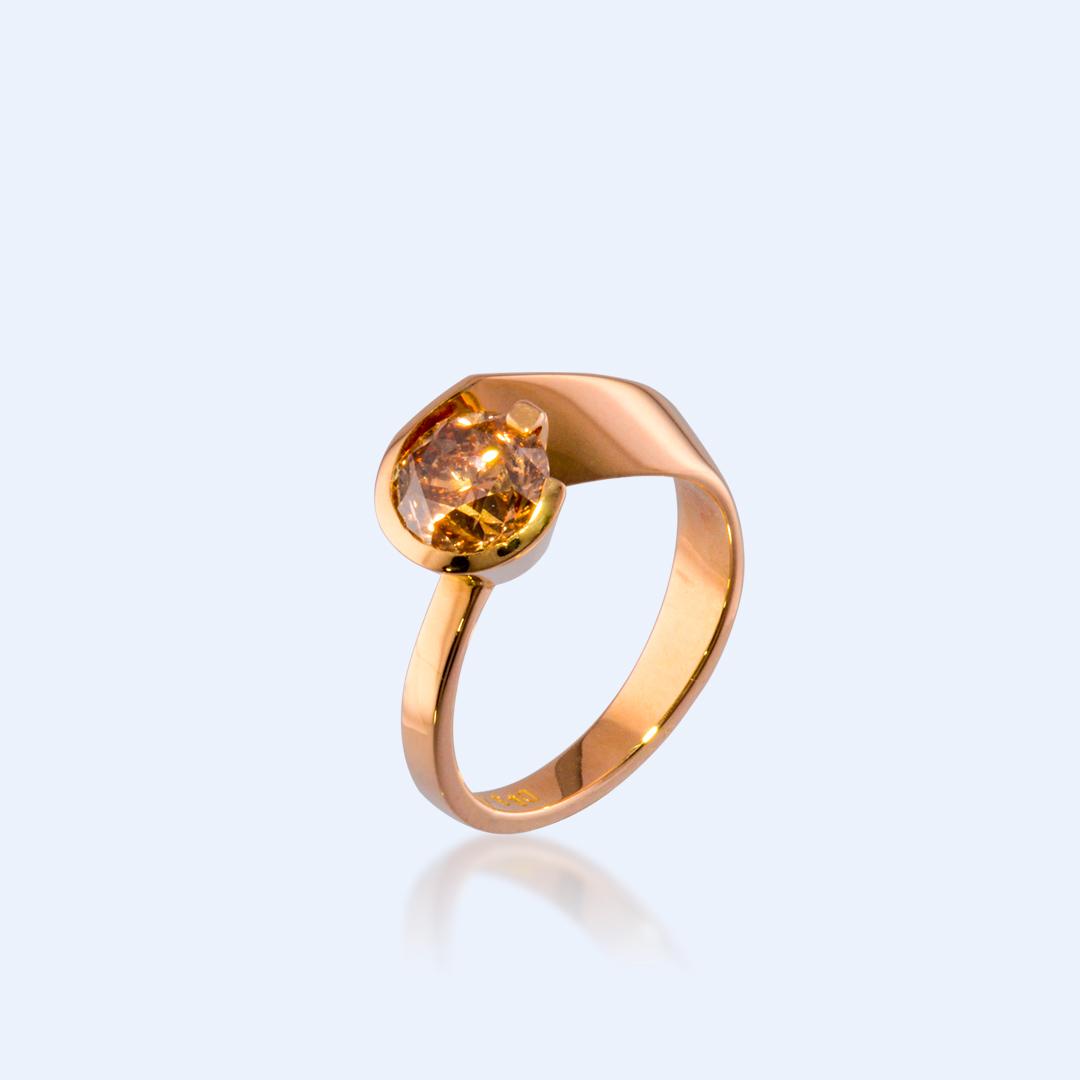 Bague Solitaire! Diamant Brun et Or Jaune