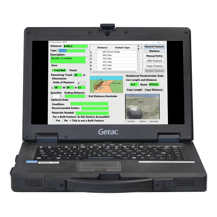 HETAP software on Getac laptop