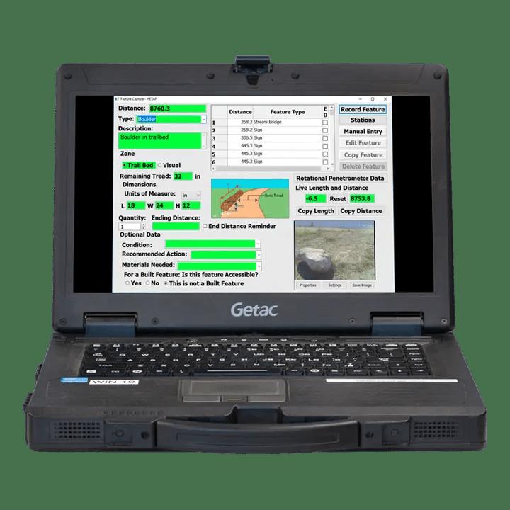 HETAP software on GETAC laptop
