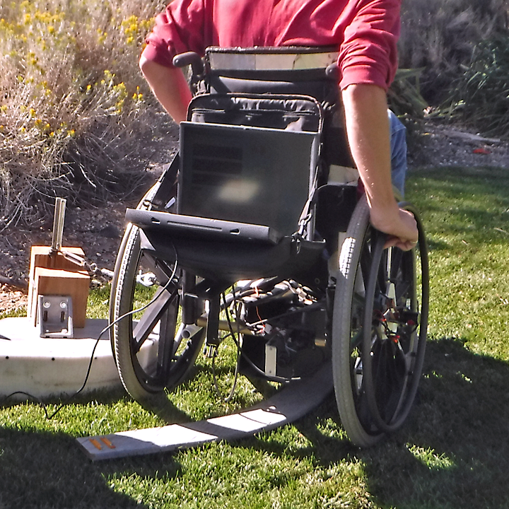turning the test wheelchair on the test surface