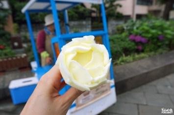 Glace en forme de rose au Megane-bashi, le pont à lunettes de Nagasaki