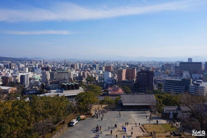 Vue sur la ville de Kumamoto depuis le donjon du château de Kumamoto