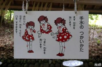 Explication sur comment se purifier dans un sanctuaire japonais, Takachiho, Miyazaki