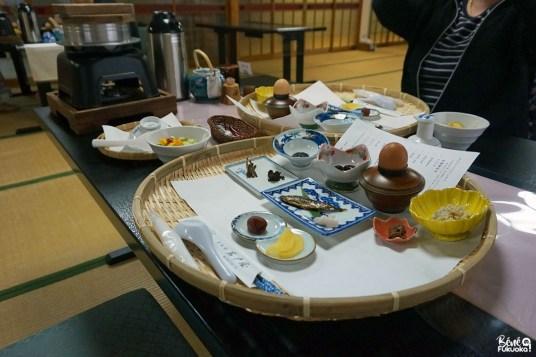Petit déjeuner au ryokan Hana Iwatoya, Takachiho