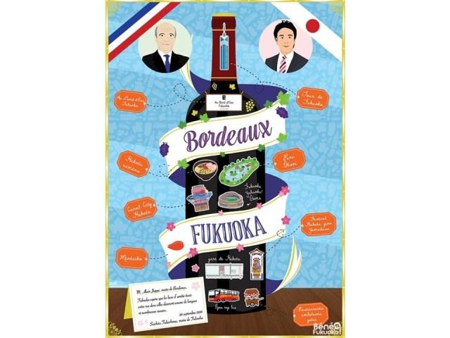 [Freelance] Mon poster pour le jumelage Bordeaux – Fukuoka