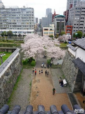 Vue depuis l'une des tourelles du château de Fukuoka