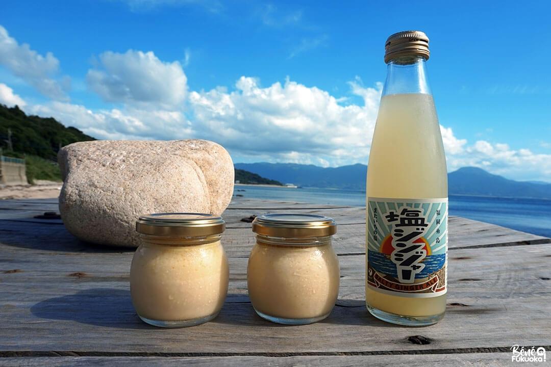 Pudding au sel et limonade au gingembre, Mataichi no Shio, Itoshima, préfecture de Fukuoka