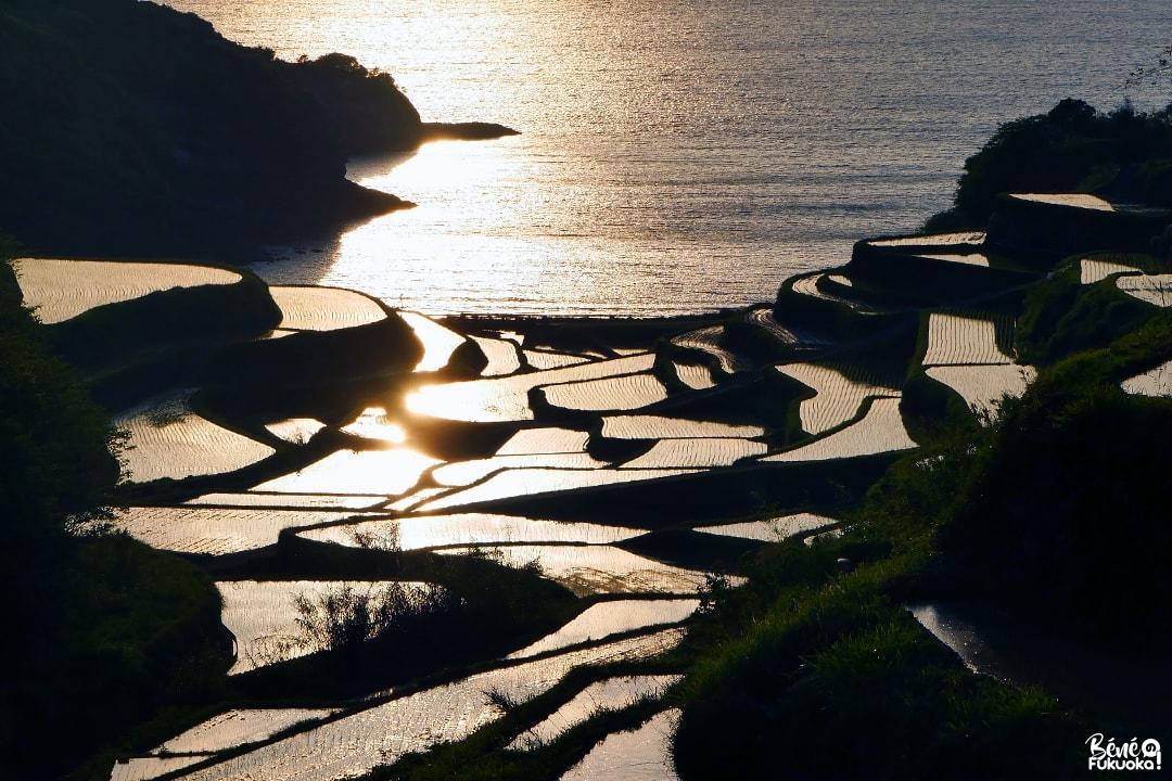 Coucher de soleil sur les rizières en terasse Hamanoura, ville de Genkai, préfecture de Saga