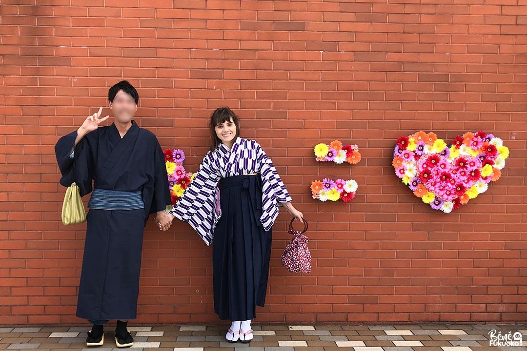Promenade en couple en kimono et spot photo populaire à Mojikô, ville de Kita-Kyûshû, Fukuoka