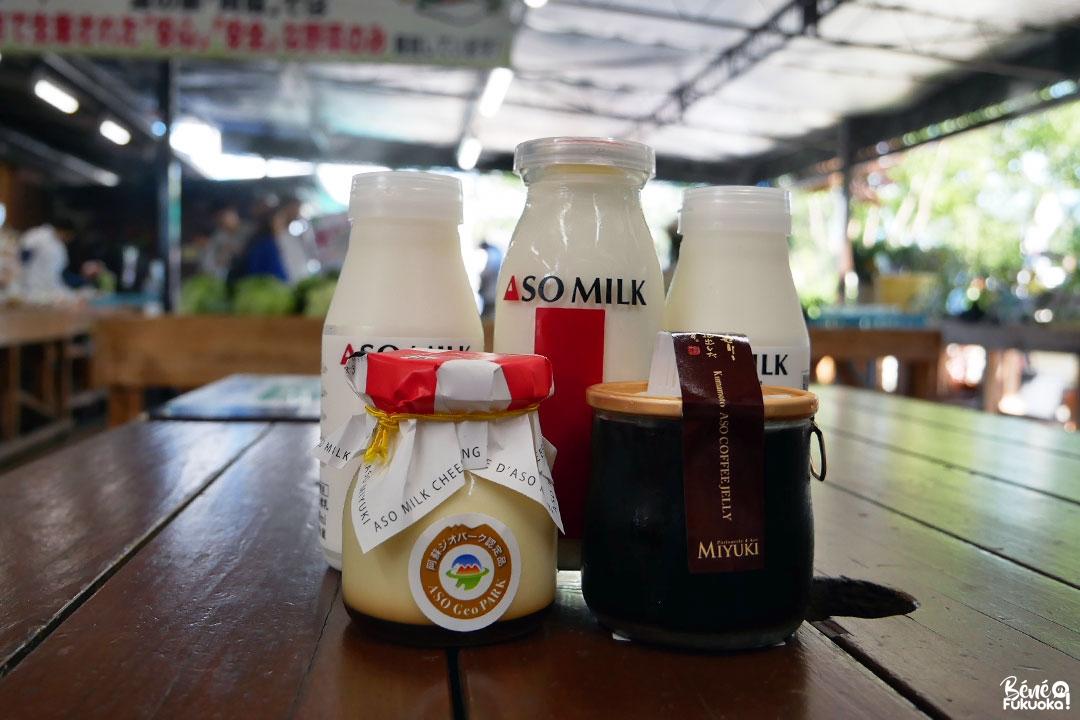 Produits fait avec du lait des vaches d'Aso, Kumamoto