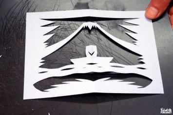 Découpe de papier au couteau japonais, restaurant Bun no Ji, Unzen