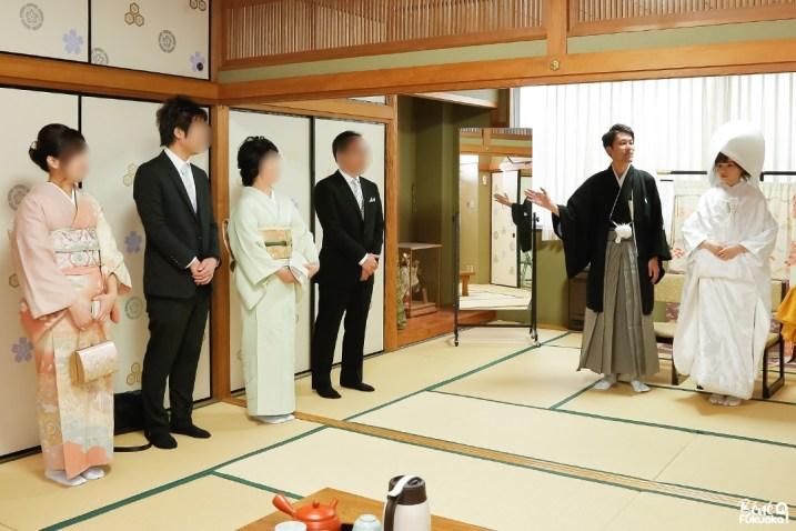 Présentation de la famille lord d'un mariage japonais, sanctuaire Kushida, Fukuoka