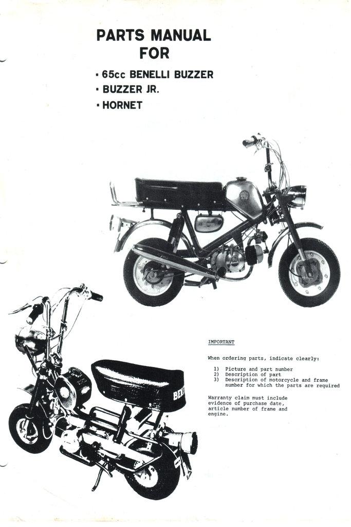 Spare parts list Benelli 65cc Buzzer, BuzzerJR., Hornet