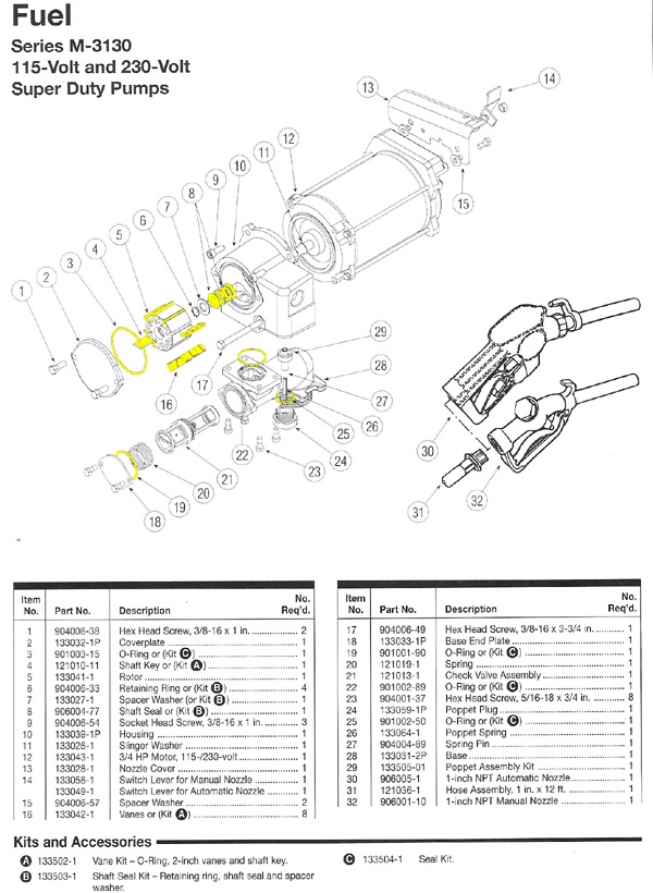 GPI M-3130 Pump Parts : ARK Petroleum Equipment, Inc.