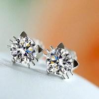 Crystal Cute Cat Stud Earrings | Bengal Cats