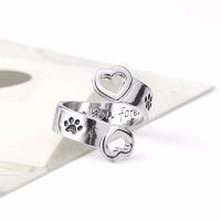 Paw Print Heart Wrap Around Ring | Bengal Cats