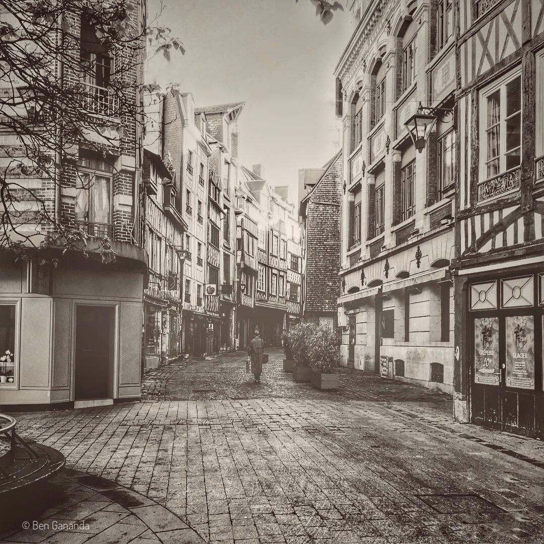 Dans les rues de Rouen, noir et blanc
