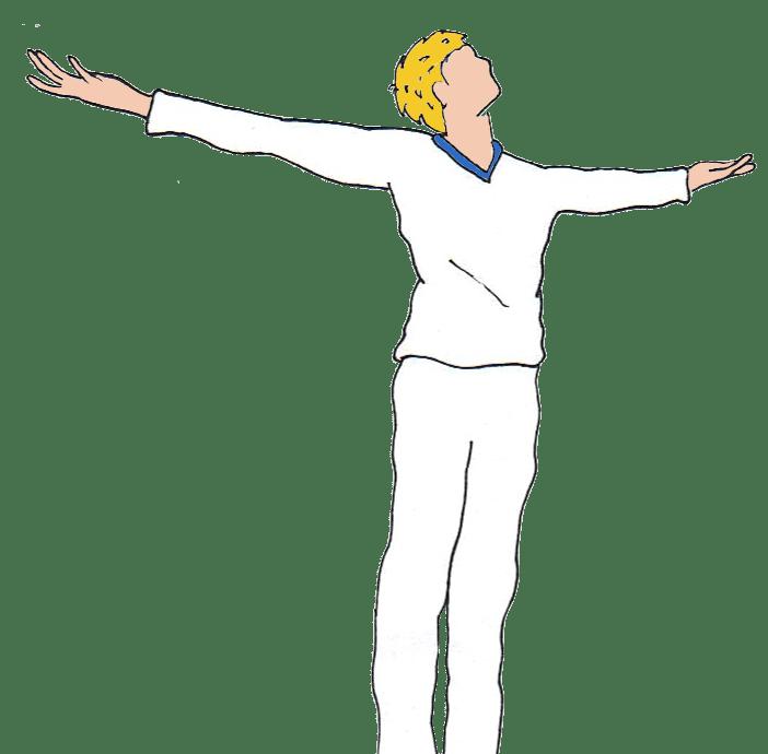 Homme en train lever les bras au ciel