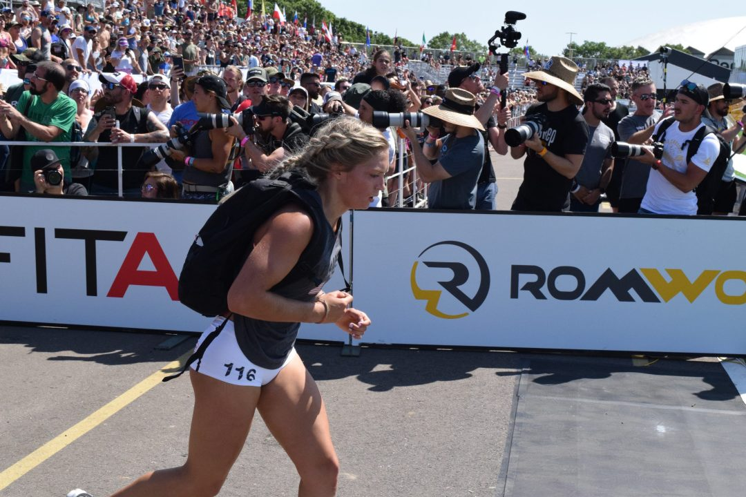 Haley Adams of CrossFit Mayhem completes the Ruck Run event at the 2019 CrossFit Games